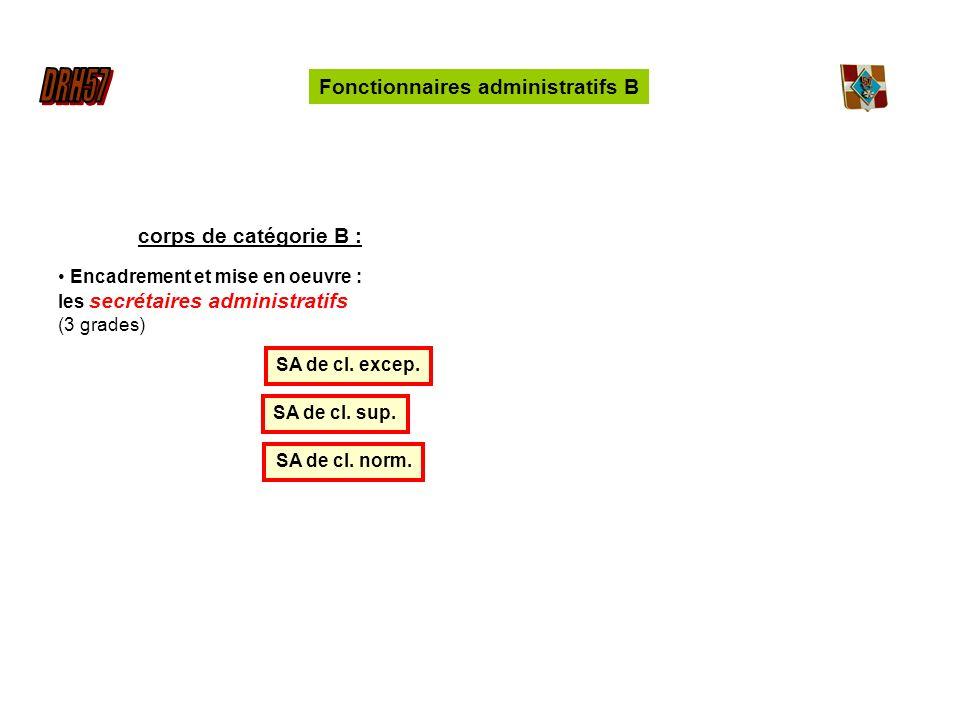 Fonctionnaires administratifs B corps de catégorie B : Encadrement et mise en oeuvre : les secrétaires administratifs (3 grades) SA de cl.