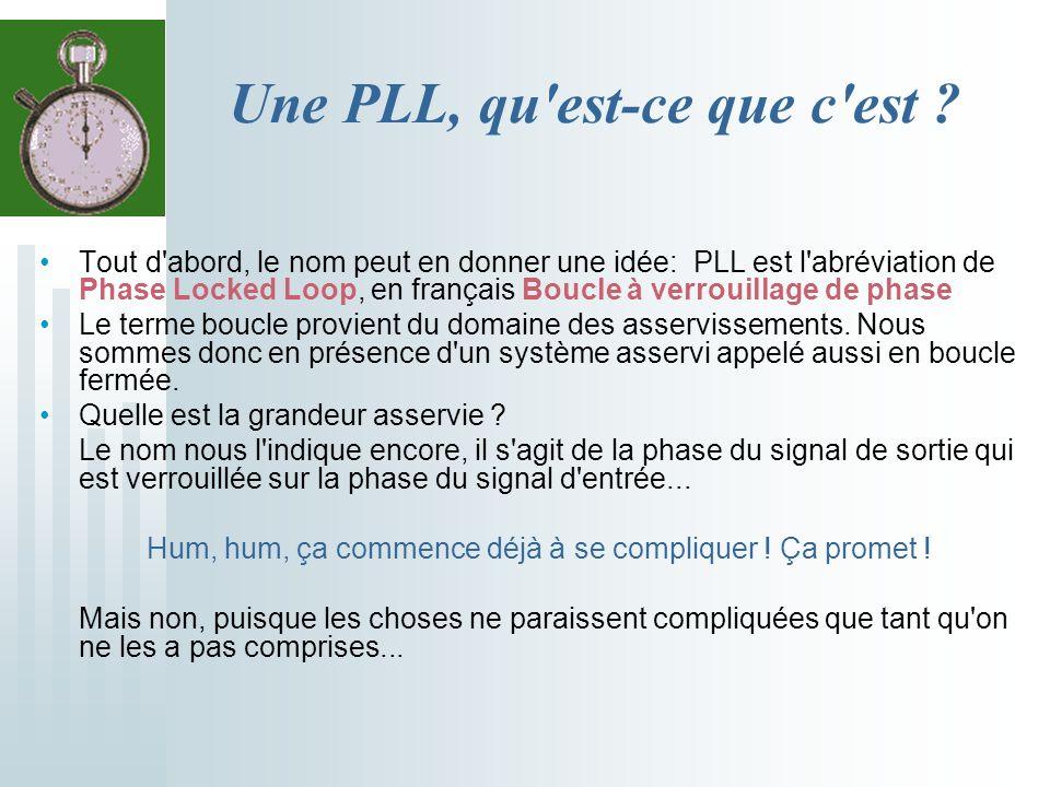 Une PLL, qu'est-ce que c'est ? Tout d'abord, le nom peut en donner une idée: PLL est l'abréviation de Phase Locked Loop, en français Boucle à verrouil