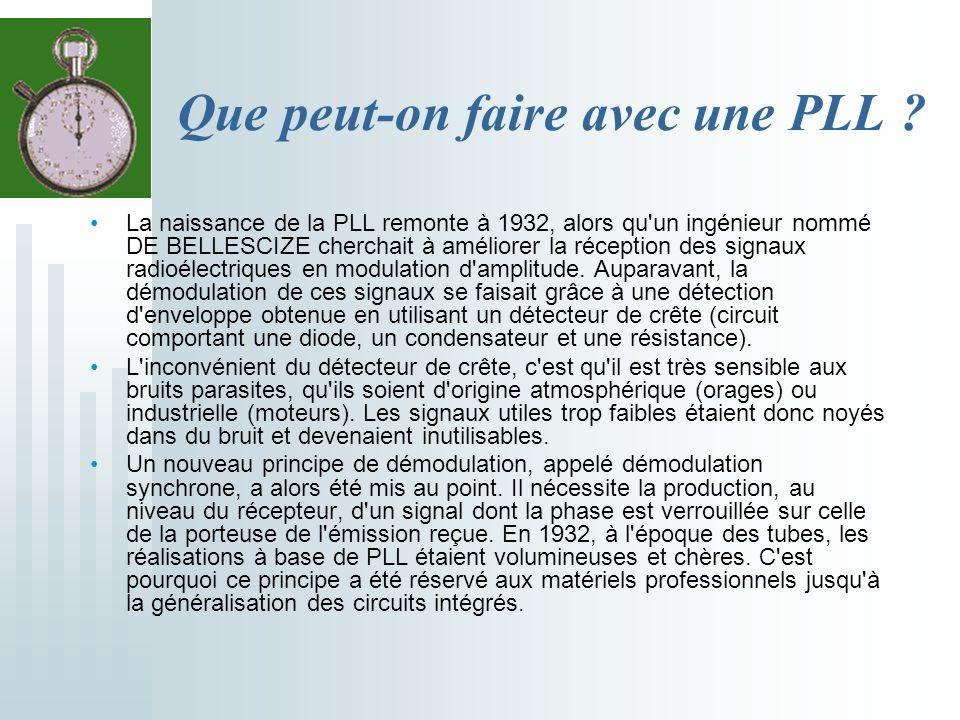 Que peut-on faire avec une PLL ? La naissance de la PLL remonte à 1932, alors qu'un ingénieur nommé DE BELLESCIZE cherchait à améliorer la réception d