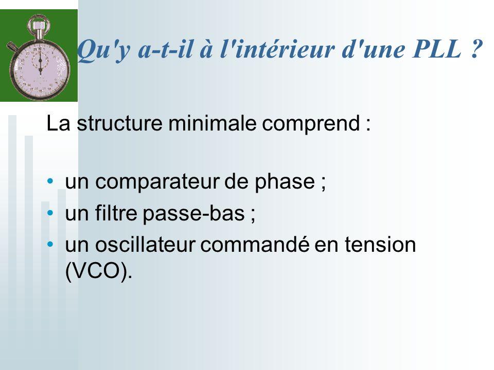 Qu'y a-t-il à l'intérieur d'une PLL ? La structure minimale comprend : un comparateur de phase ; un filtre passe-bas ; un oscillateur commandé en tens