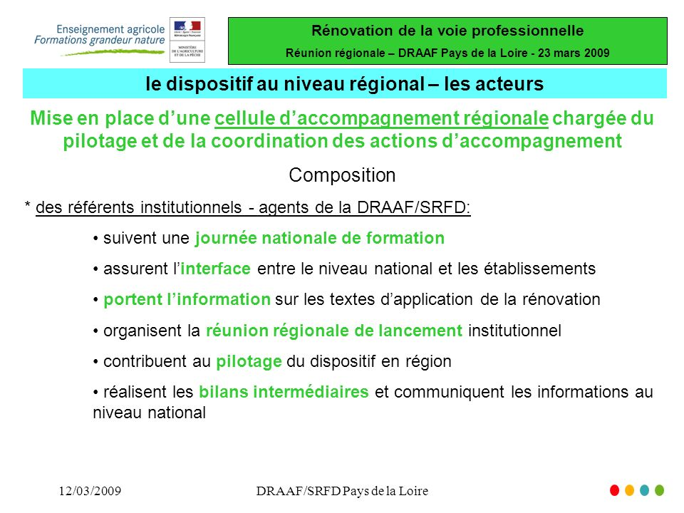 Rénovation de la voie professionnelle Réunion régionale – DRAAF Pays de la Loire - 23 mars 2009 12/03/2009DRAAF/SRFD Pays de la Loire Mise en place du