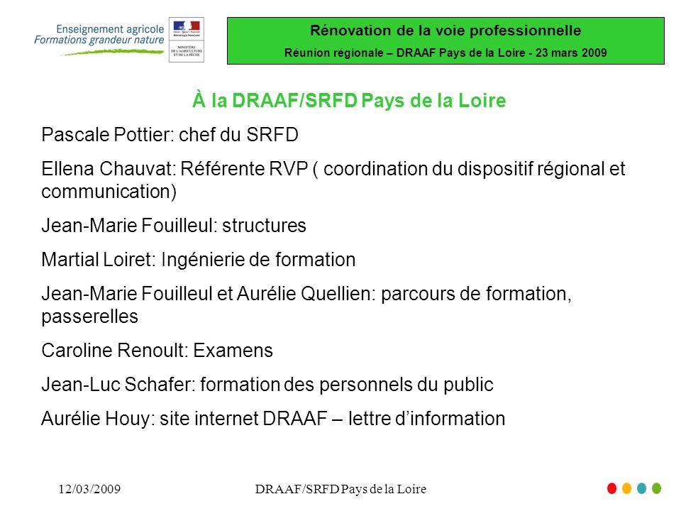 Rénovation de la voie professionnelle Réunion régionale – DRAAF Pays de la Loire - 23 mars 2009 12/03/2009DRAAF/SRFD Pays de la Loire À la DRAAF/SRFD