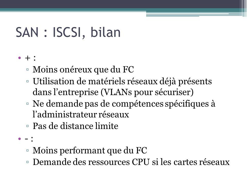 SAN : ISCSI, bilan + : Moins onéreux que du FC Utilisation de matériels réseaux déjà présents dans lentreprise (VLANs pour sécuriser) Ne demande pas d