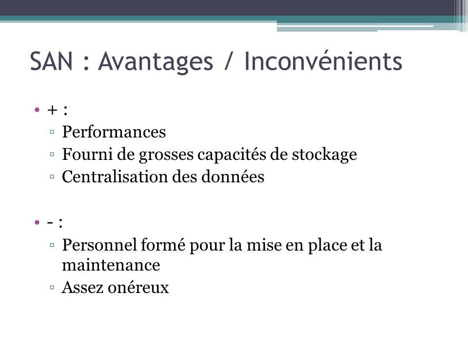 SAN : Avantages / Inconvénients + : Performances Fourni de grosses capacités de stockage Centralisation des données - : Personnel formé pour la mise e