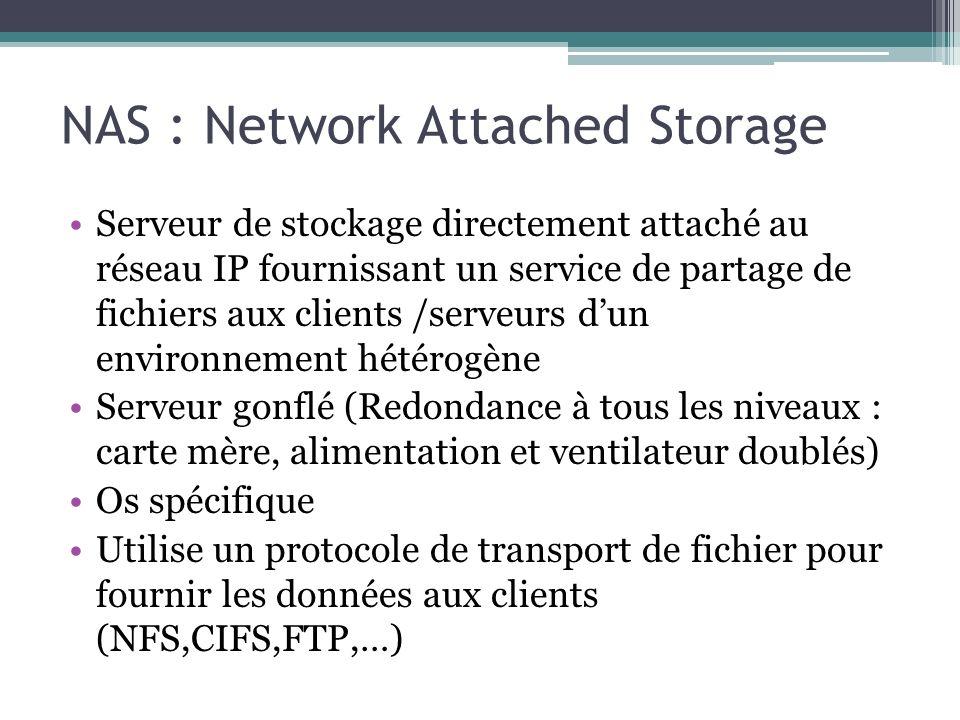 NAS : Network Attached Storage Serveur de stockage directement attaché au réseau IP fournissant un service de partage de fichiers aux clients /serveur