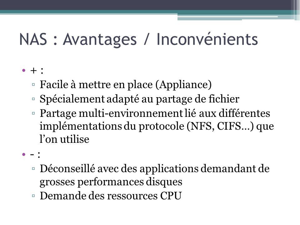 NAS : Avantages / Inconvénients + : Facile à mettre en place (Appliance) Spécialement adapté au partage de fichier Partage multi-environnement lié aux
