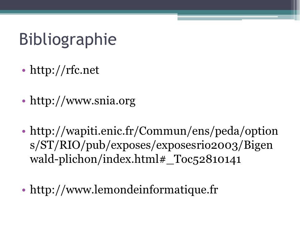 Bibliographie http://rfc.net http://www.snia.org http://wapiti.enic.fr/Commun/ens/peda/option s/ST/RIO/pub/exposes/exposesrio2003/Bigen wald-plichon/i