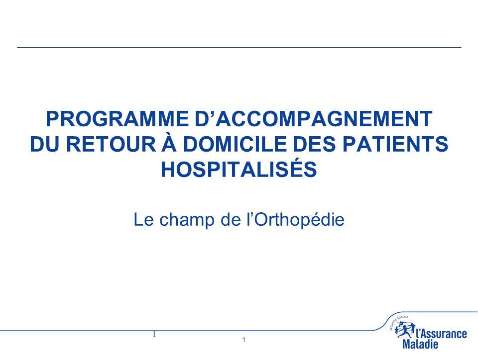 1 1 PROGRAMME DACCOMPAGNEMENT DU RETOUR À DOMICILE DES PATIENTS HOSPITALISÉS Le champ de lOrthopédie