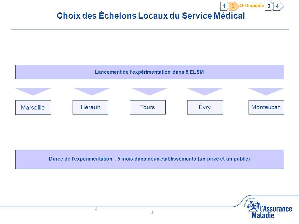 4 4 Choix des Échelons Locaux du Service Médical Lancement de lexpérimentation dans 5 ELSM Marseille HéraultToursÉvryMontauban Durée de lexpérimentati