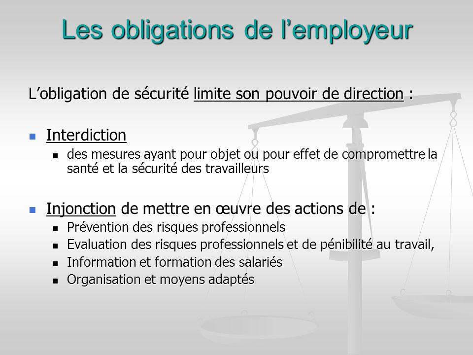 Les obligations de lemployeur Lobligation de sécurité limite son pouvoir de direction : Interdiction Interdiction des mesures ayant pour objet ou pour