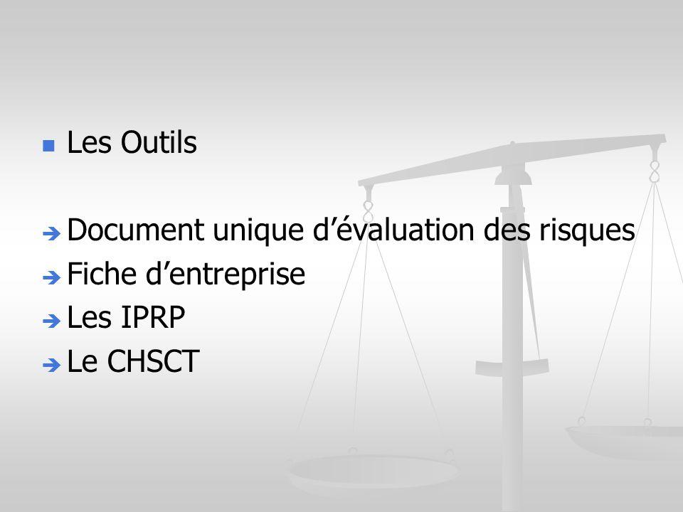 Les Outils Document unique dévaluation des risques Fiche dentreprise Les IPRP Le CHSCT