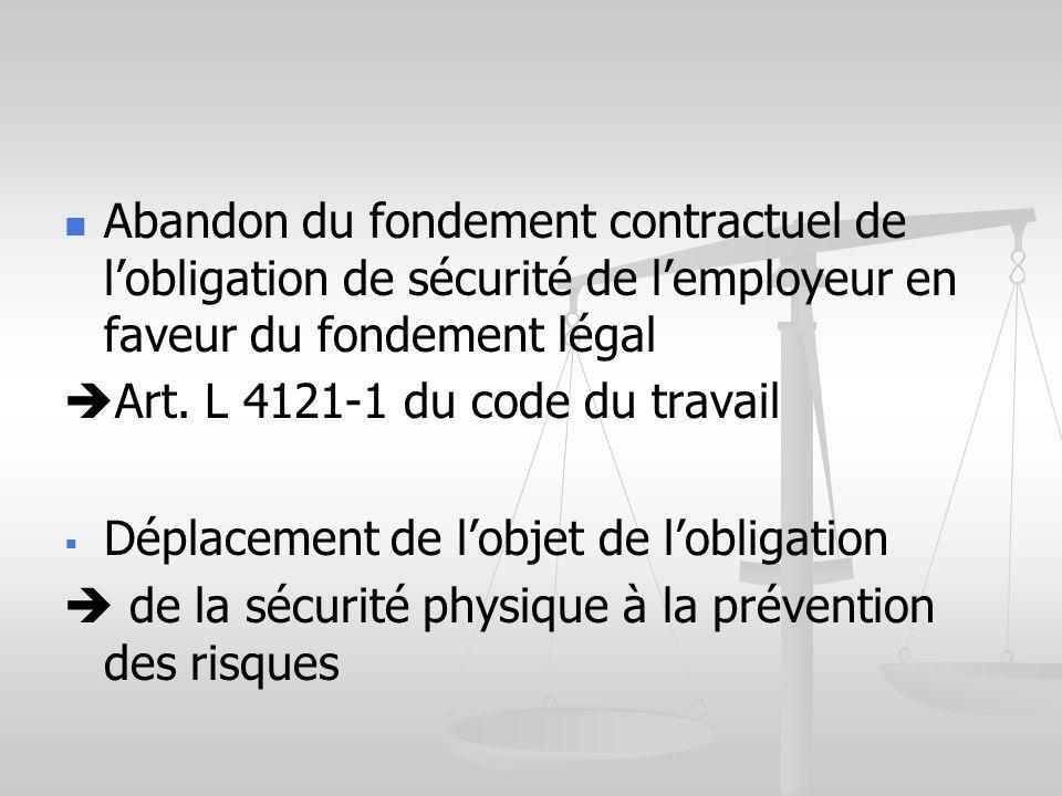 Abandon du fondement contractuel de lobligation de sécurité de lemployeur en faveur du fondement légal Art. L 4121-1 du code du travail Déplacement de
