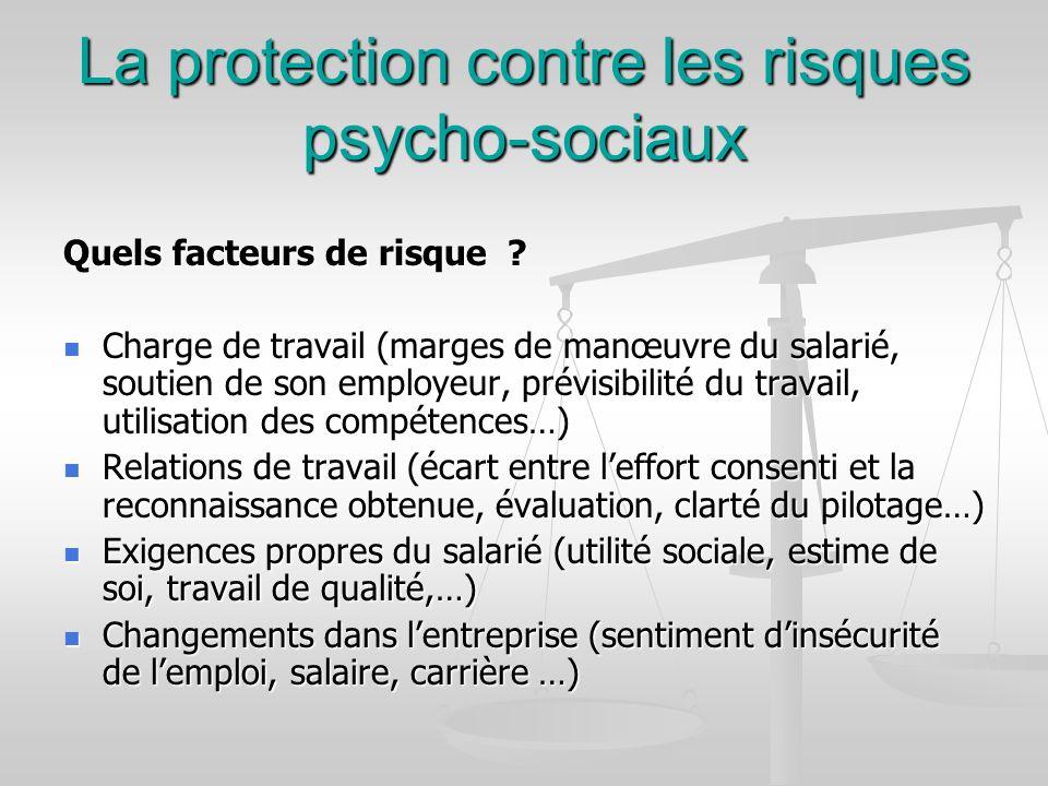 La protection contre les risques psycho-sociaux Quels facteurs de risque ? Charge de travail (marges de manœuvre du salarié, soutien de son employeur,