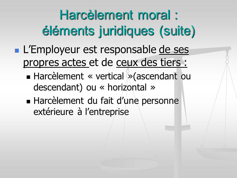Harcèlement moral : éléments juridiques (suite) LEmployeur est responsable de ses propres actes et de ceux des tiers : LEmployeur est responsable de s