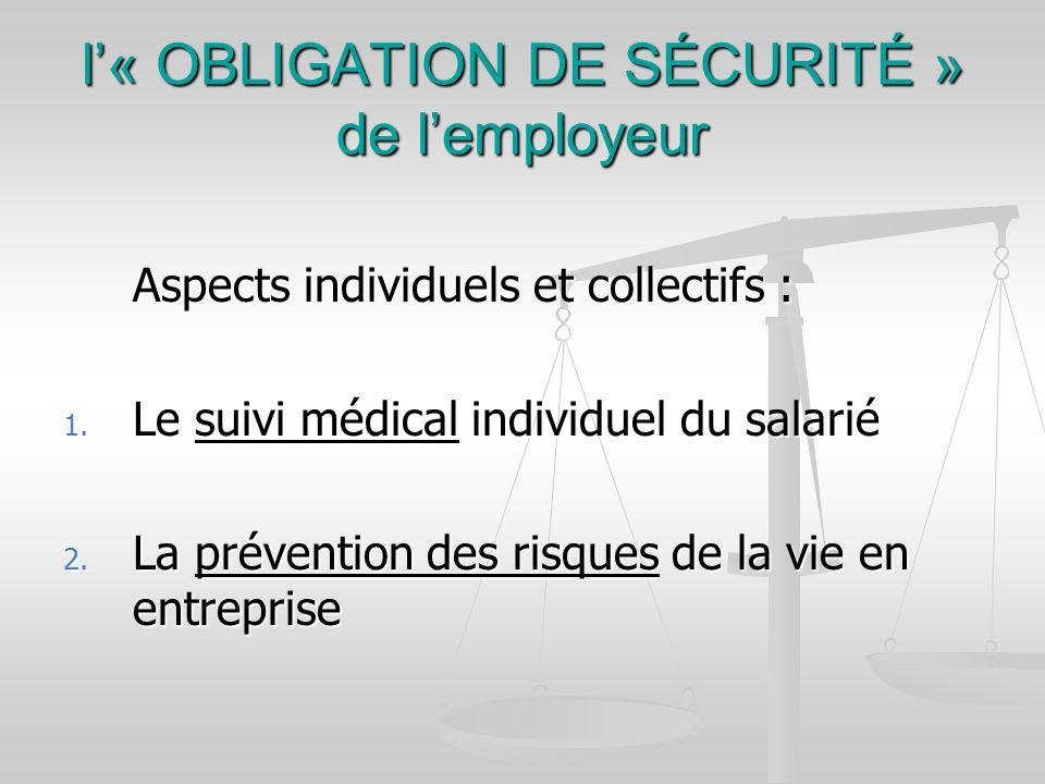 l« OBLIGATION DE SÉCURITÉ » de lemployeur Aspects individuels et collectifs : 1. Le suivi médical individuel du salarié 2. La prévention des risques d