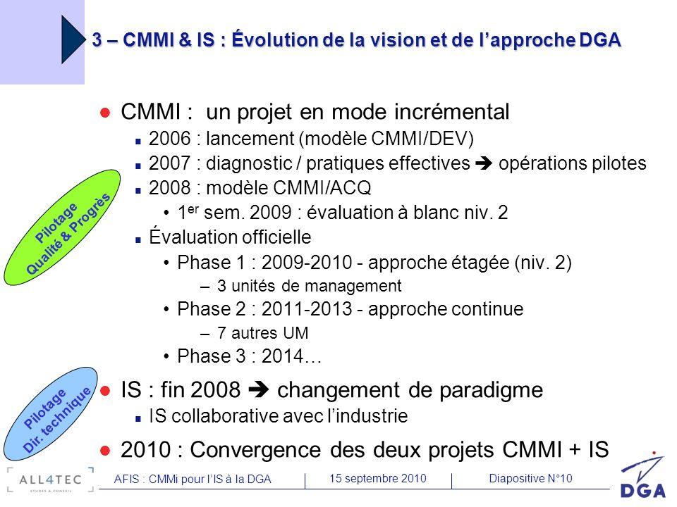 Diapositive N°1015 septembre 2010 AFIS : CMMi pour lIS à la DGA CMMI : un projet en mode incrémental 2006 : lancement (modèle CMMI/DEV) 2007 : diagnos