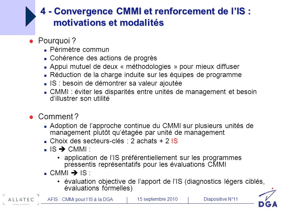 Diapositive N°1115 septembre 2010 AFIS : CMMi pour lIS à la DGA 4 - Convergence CMMI et renforcement de lIS : motivations et modalités Pourquoi ? Péri