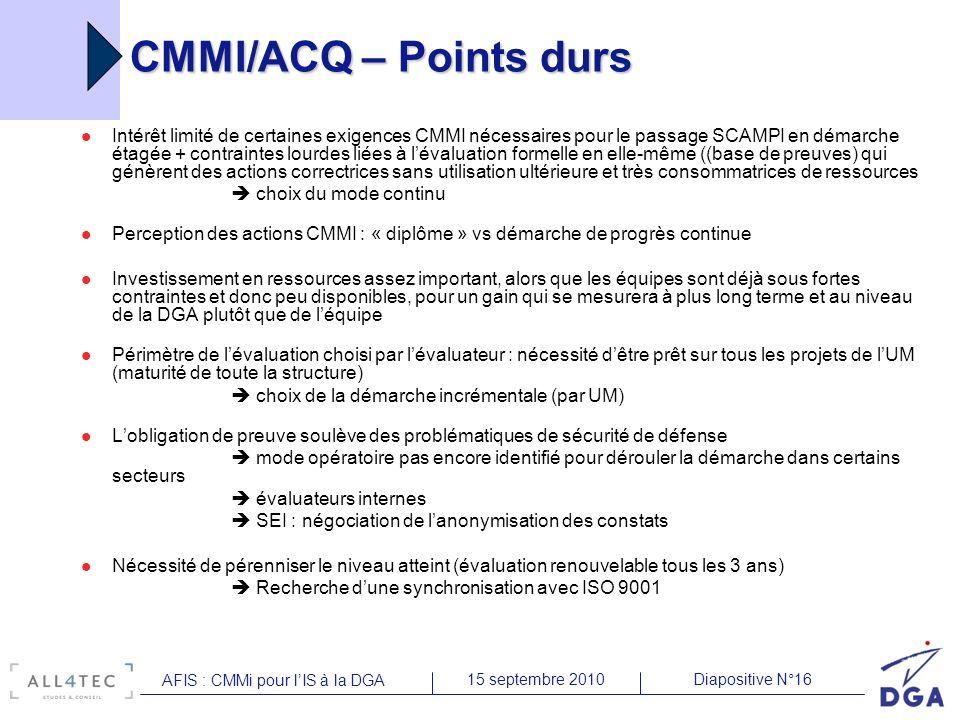 Diapositive N°1615 septembre 2010 AFIS : CMMi pour lIS à la DGA CMMI/ACQ – Points durs Intérêt limité de certaines exigences CMMI nécessaires pour le