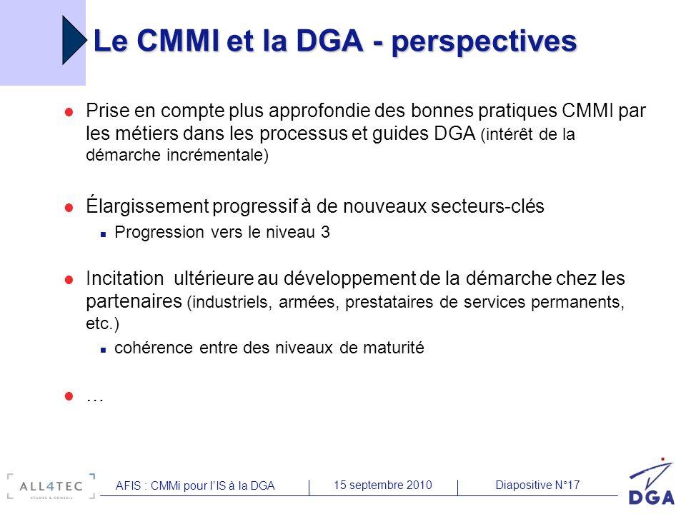 Diapositive N°1715 septembre 2010 AFIS : CMMi pour lIS à la DGA Le CMMI et la DGA - perspectives Prise en compte plus approfondie des bonnes pratiques CMMI par les métiers dans les processus et guides DGA (intérêt de la démarche incrémentale) Élargissement progressif à de nouveaux secteurs-clés Progression vers le niveau 3 Incitation ultérieure au développement de la démarche chez les partenaires (industriels, armées, prestataires de services permanents, etc.) cohérence entre des niveaux de maturité …