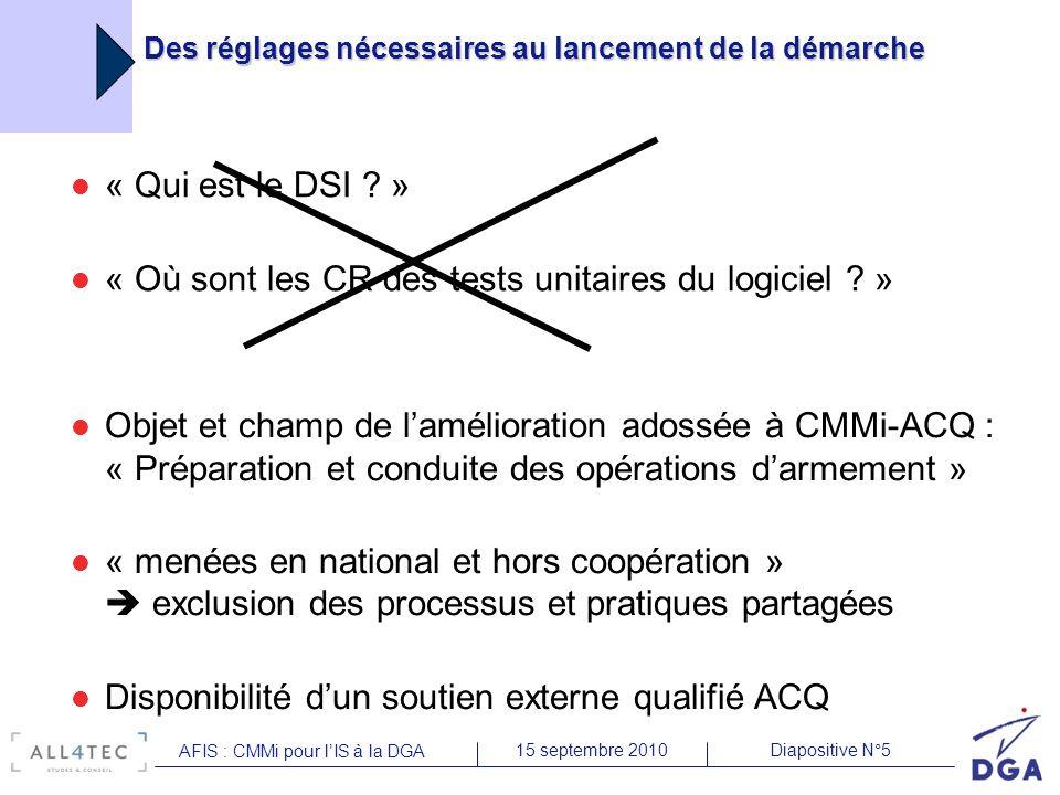 Diapositive N°1615 septembre 2010 AFIS : CMMi pour lIS à la DGA CMMI/ACQ – Points durs Intérêt limité de certaines exigences CMMI nécessaires pour le passage SCAMPI en démarche étagée + contraintes lourdes liées à lévaluation formelle en elle-même ((base de preuves) qui génèrent des actions correctrices sans utilisation ultérieure et très consommatrices de ressources choix du mode continu Perception des actions CMMI : « diplôme » vs démarche de progrès continue Investissement en ressources assez important, alors que les équipes sont déjà sous fortes contraintes et donc peu disponibles, pour un gain qui se mesurera à plus long terme et au niveau de la DGA plutôt que de léquipe Périmètre de lévaluation choisi par lévaluateur : nécessité dêtre prêt sur tous les projets de lUM (maturité de toute la structure) choix de la démarche incrémentale (par UM) Lobligation de preuve soulève des problématiques de sécurité de défense mode opératoire pas encore identifié pour dérouler la démarche dans certains secteurs évaluateurs internes SEI : négociation de lanonymisation des constats Nécessité de pérenniser le niveau atteint (évaluation renouvelable tous les 3 ans) Recherche dune synchronisation avec ISO 9001
