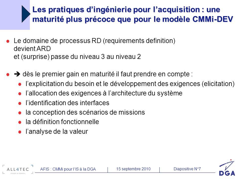 Diapositive N°715 septembre 2010 AFIS : CMMi pour lIS à la DGA Les pratiques dingénierie pour lacquisition : une maturité plus précoce que pour le mod