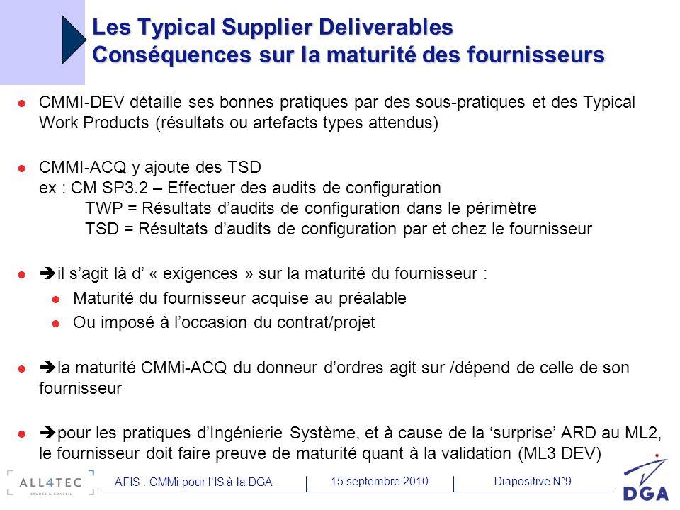 Diapositive N°915 septembre 2010 AFIS : CMMi pour lIS à la DGA Les Typical Supplier Deliverables Conséquences sur la maturité des fournisseurs CMMI-DE
