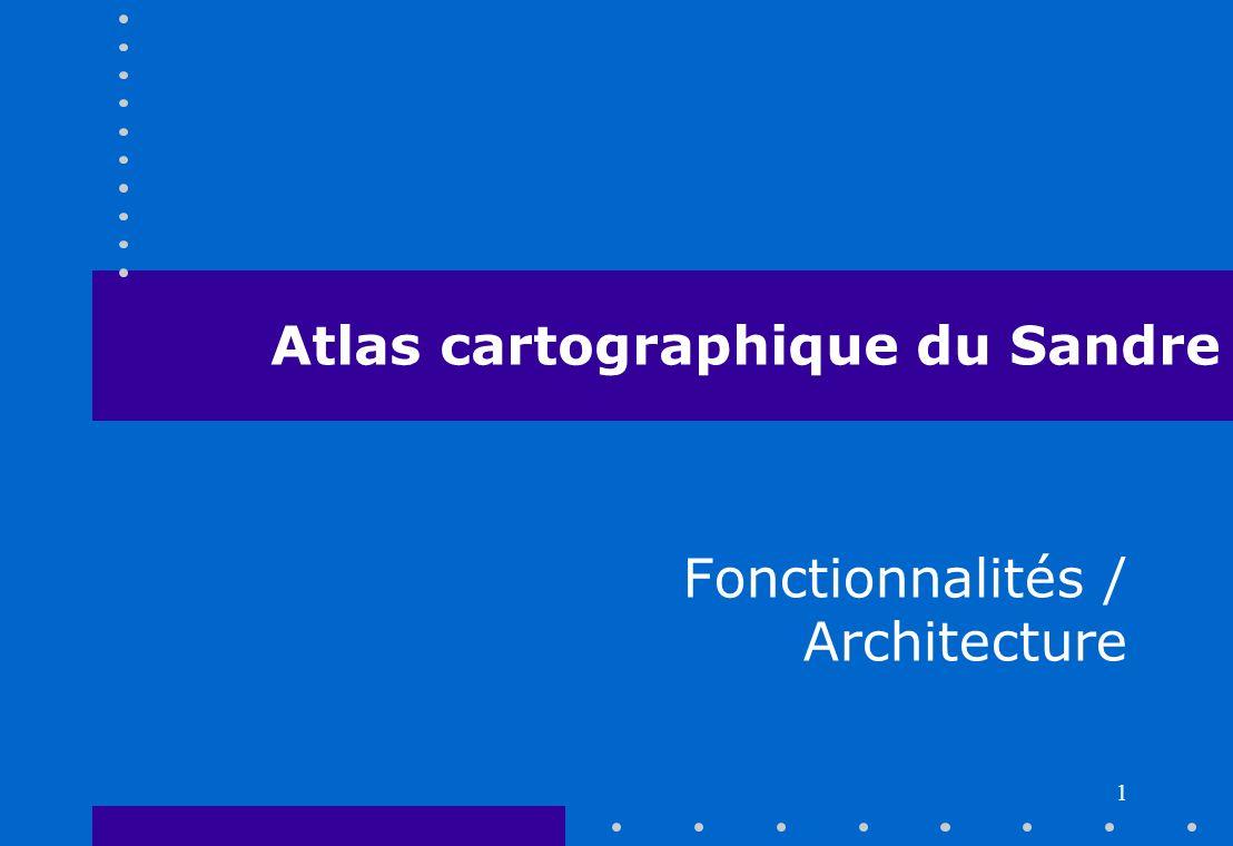 Groupe Architecture 21/09/2005 2 Atlas cartographique du Sandre Publication des référentiels sur leau : –Stations de mesure –Ouvrages liés à leau –Zonages Architecture reposant sur les services web (OGC, Sandre)