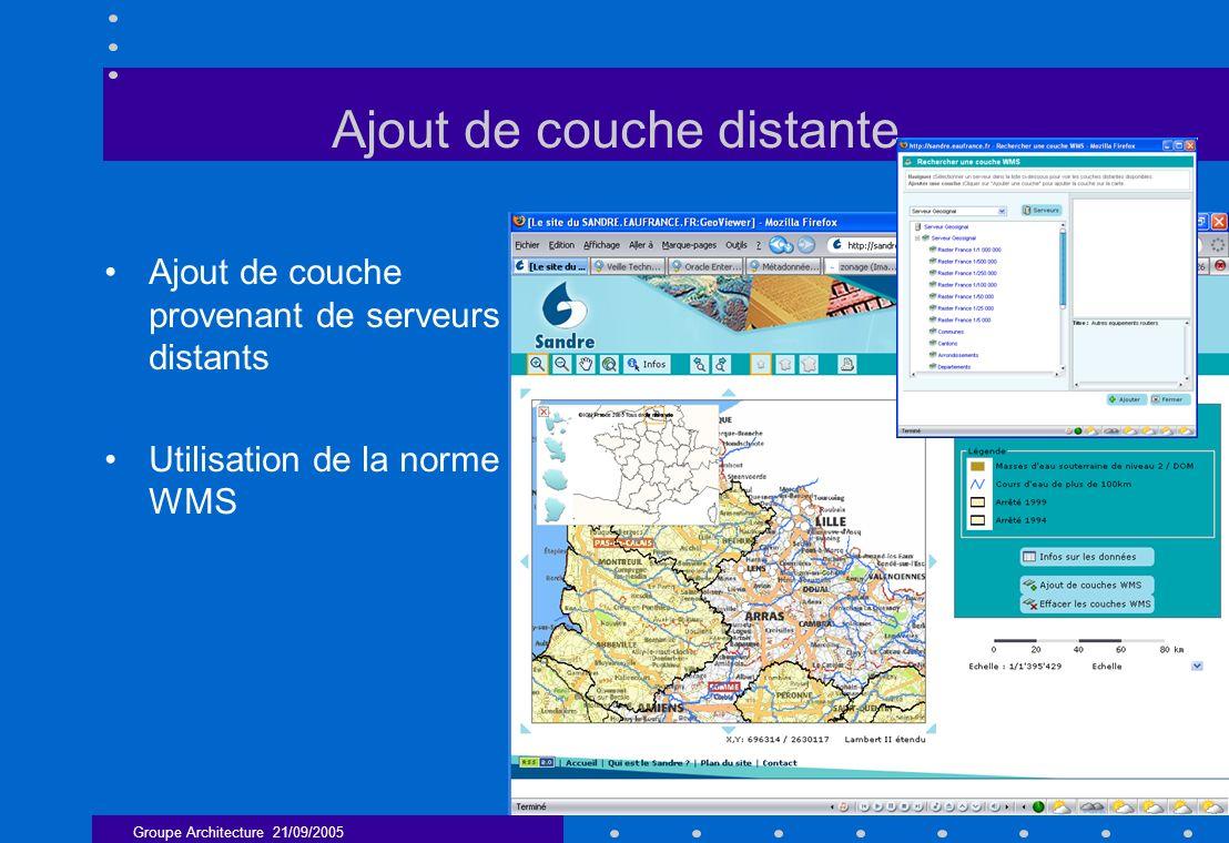 Groupe Architecture 21/09/2005 11 Ajout de couche distante Ajout de couche provenant de serveurs distants Utilisation de la norme WMS