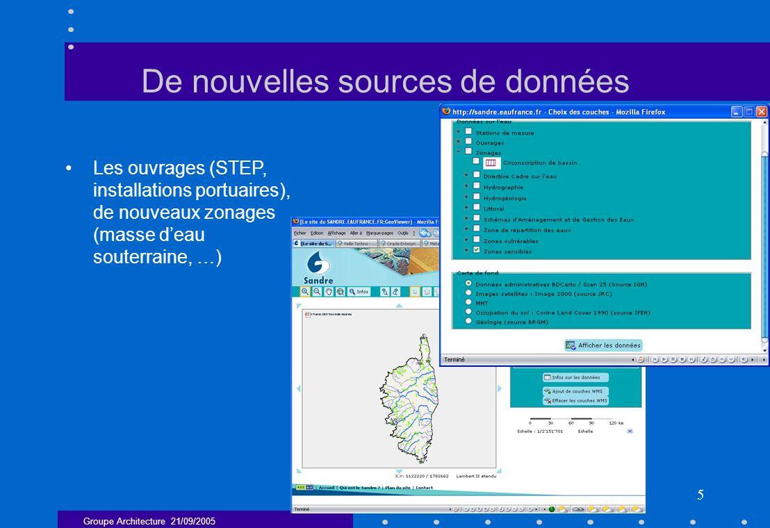 Groupe Architecture 21/09/2005 5 De nouvelles sources de données Les ouvrages (STEP, installations portuaires), de nouveaux zonages (masse deau souter