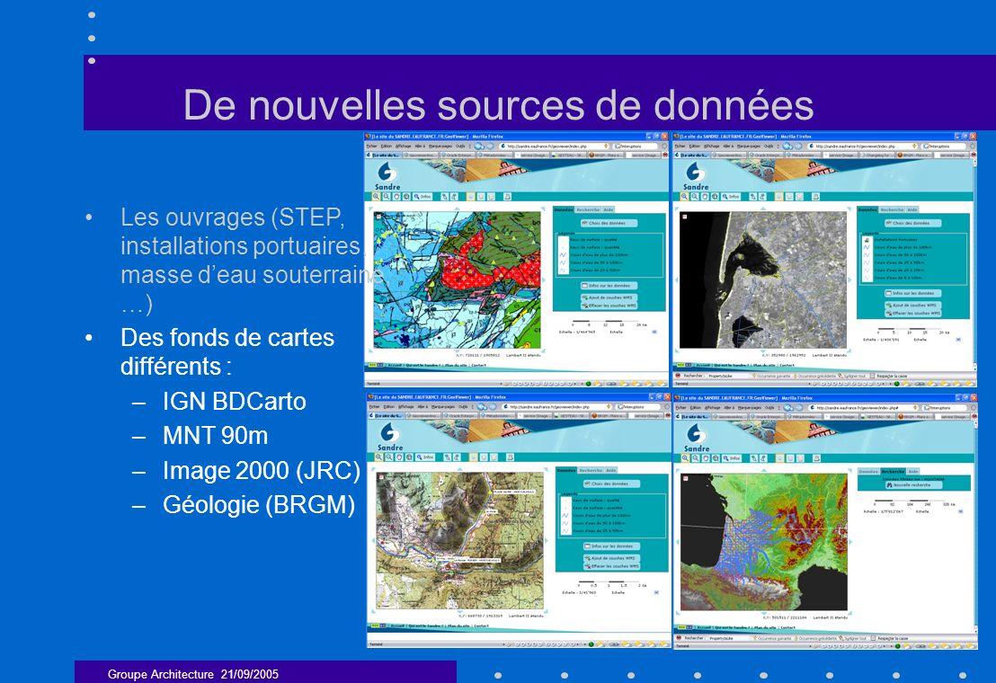 Groupe Architecture 21/09/2005 6 De nouvelles sources de données Les ouvrages (STEP, installations portuaires, masse deau souterraine, …) Des fonds de