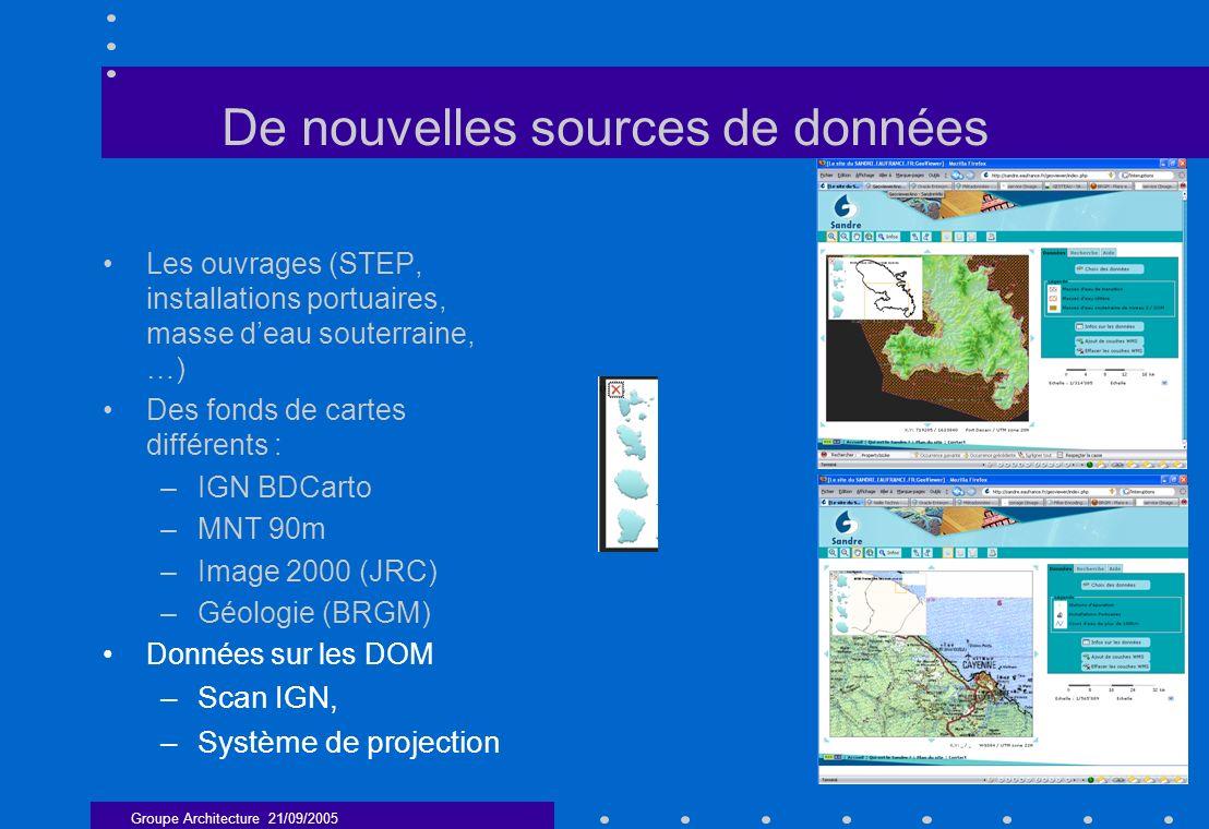 Groupe Architecture 21/09/2005 7 De nouvelles sources de données Les ouvrages (STEP, installations portuaires, masse deau souterraine, …) Des fonds de