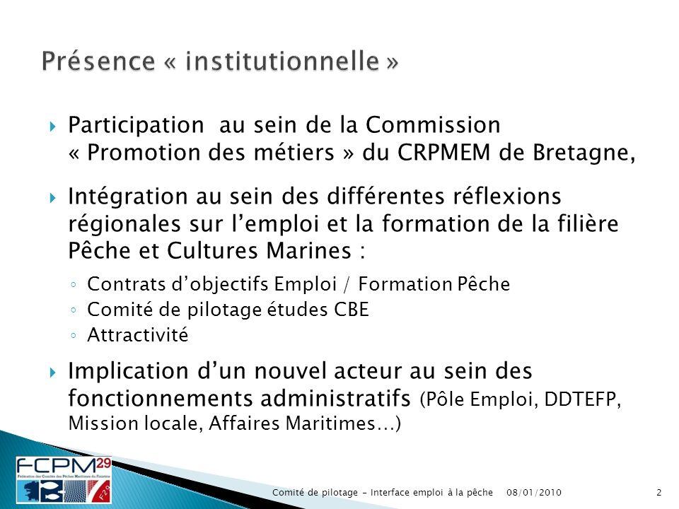 Participation au sein de la Commission « Promotion des métiers » du CRPMEM de Bretagne, Intégration au sein des différentes réflexions régionales sur
