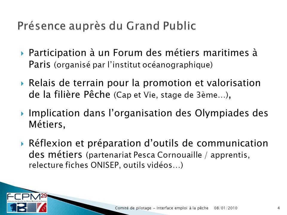 Participation à un Forum des métiers maritimes à Paris (organisé par linstitut océanographique) Relais de terrain pour la promotion et valorisation de