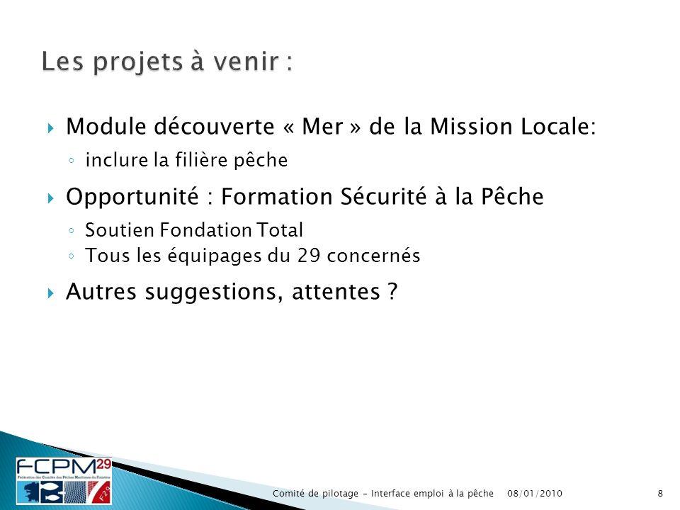 Module découverte « Mer » de la Mission Locale: inclure la filière pêche Opportunité : Formation Sécurité à la Pêche Soutien Fondation Total Tous les