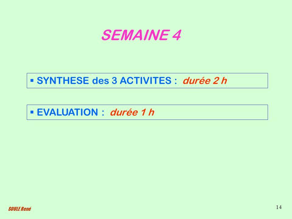 SOULE René 14 SEMAINE 4 SYNTHESE des 3 ACTIVITES : durée 2 h EVALUATION : durée 1 h