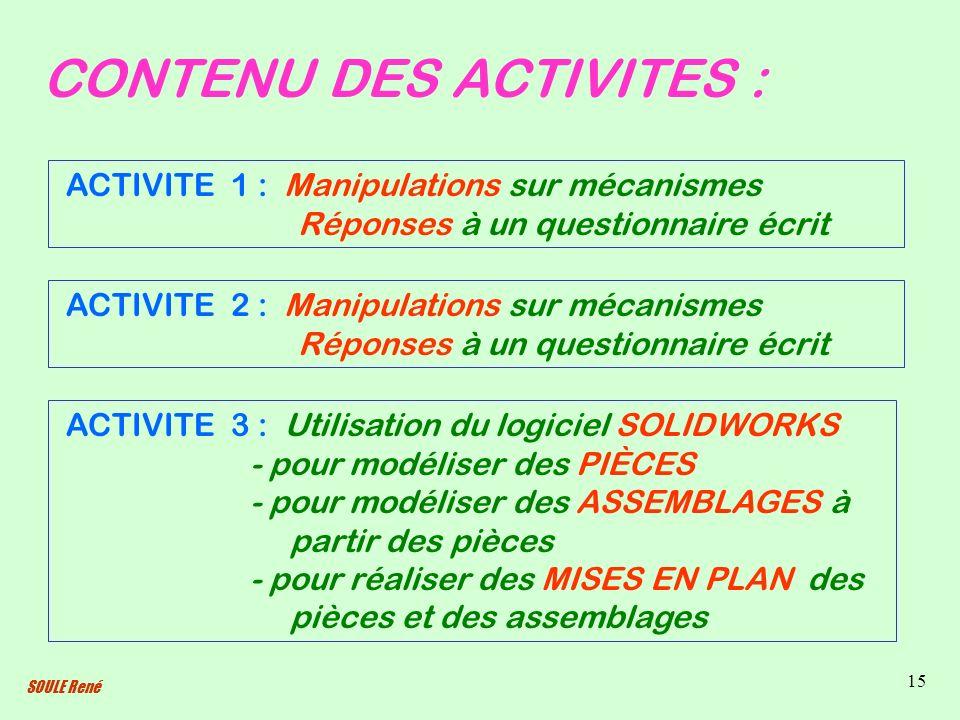 SOULE René 15 CONTENU DES ACTIVITES : ACTIVITE 1 : Manipulations sur mécanismes Réponses à un questionnaire écrit ACTIVITE 2 : Manipulations sur mécan