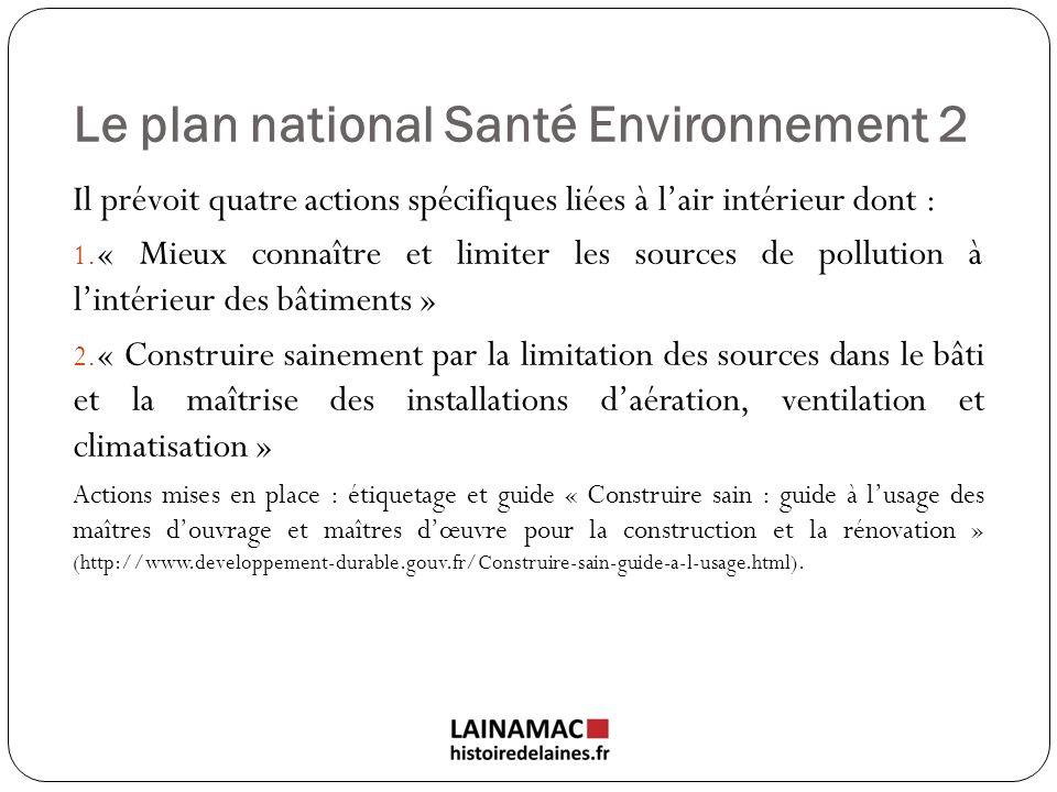 Le plan national Santé Environnement 2 Il prévoit quatre actions spécifiques liées à lair intérieur dont : 1. « Mieux connaître et limiter les sources