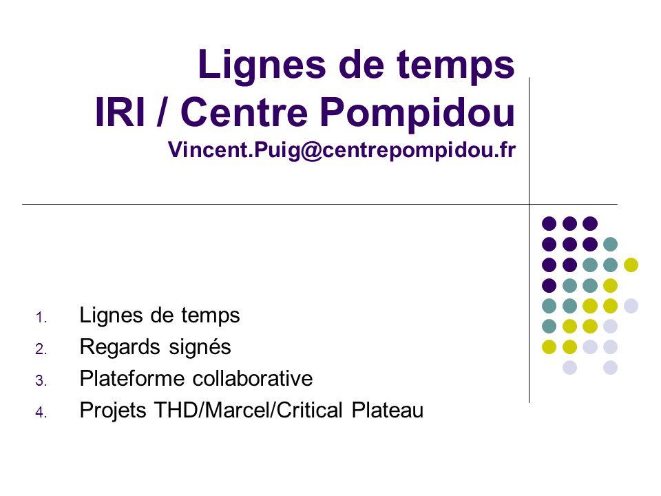 Lignes de temps IRI / Centre Pompidou Vincent.Puig@centrepompidou.fr 1.
