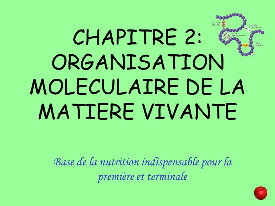 CHAPITRE 2: ORGANISATION MOLECULAIRE DE LA MATIERE VIVANTE Base de la nutrition indispensable pour la première et terminale