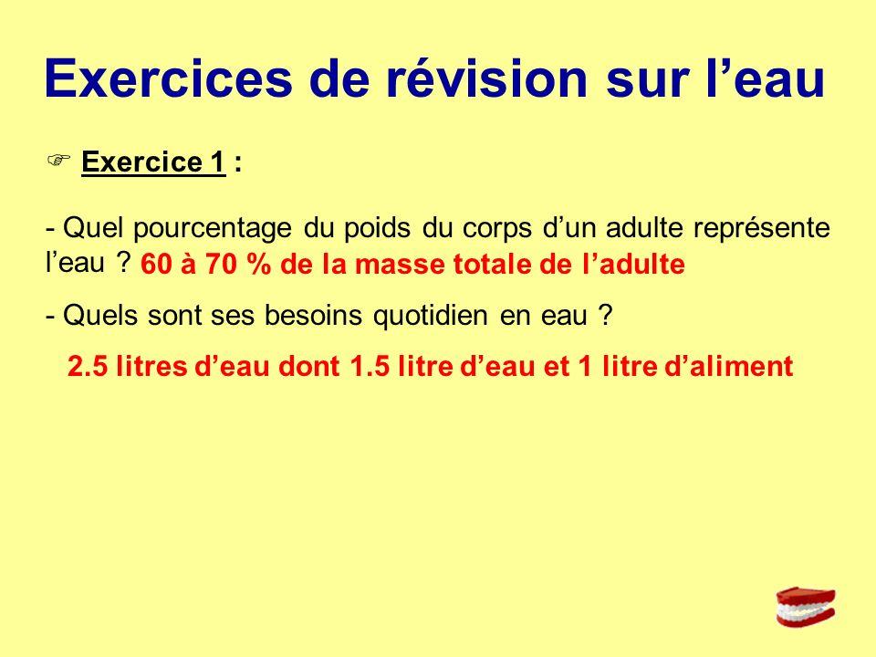 Exercices de révision sur leau Exercice 1 : - Quel pourcentage du poids du corps dun adulte représente leau ? - Quels sont ses besoins quotidien en ea