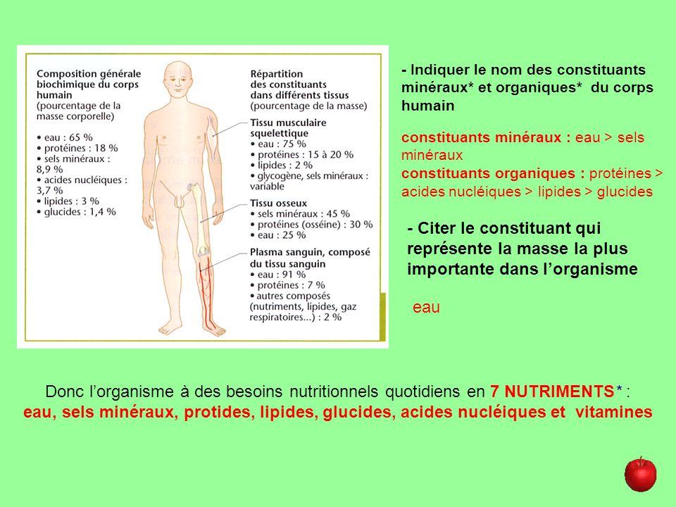 - Indiquer le nom des constituants minéraux* et organiques* du corps humain constituants minéraux : eau > sels minéraux constituants organiques : prot