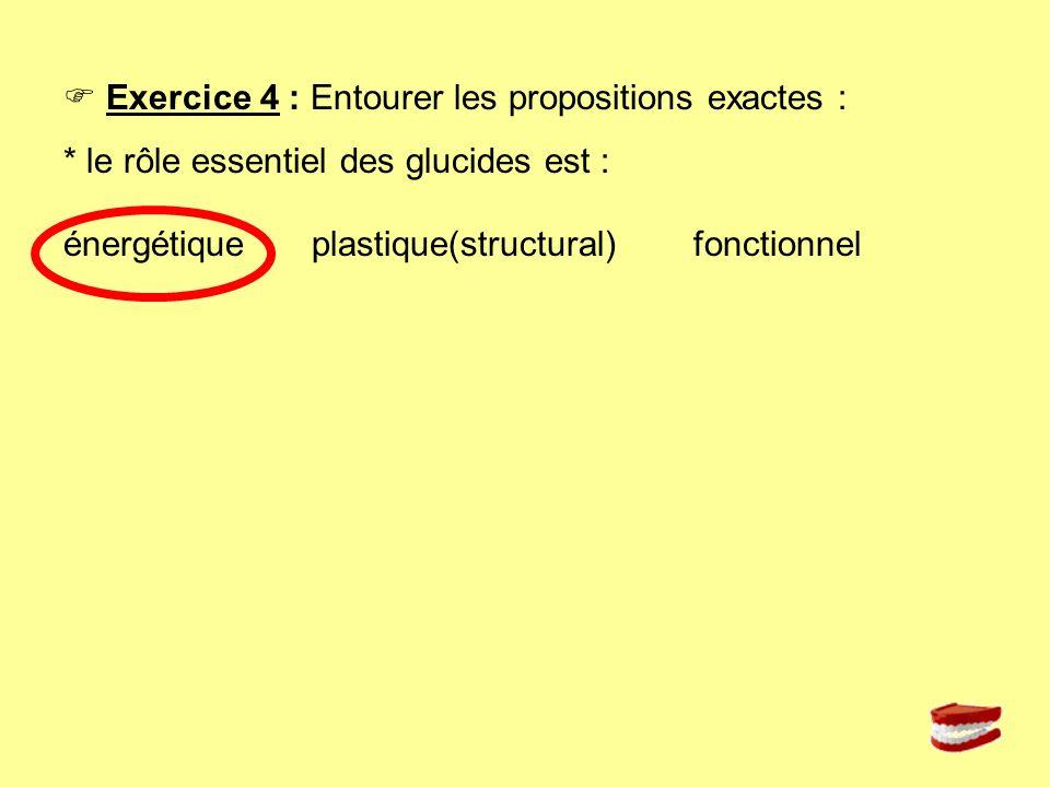 Exercice 4 : Entourer les propositions exactes : * le rôle essentiel des glucides est : énergétique plastique(structural) fonctionnel
