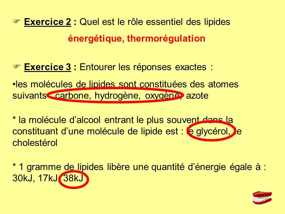 Exercice 2 : Quel est le rôle essentiel des lipides Exercice 3 : Entourer les réponses exactes : les molécules de lipides sont constituées des atomes