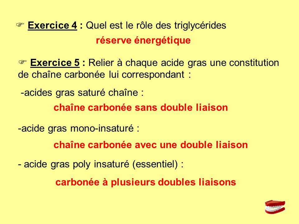 Exercice 4 : Quel est le rôle des triglycérides Exercice 5 : Relier à chaque acide gras une constitution de chaîne carbonée lui correspondant : -acide