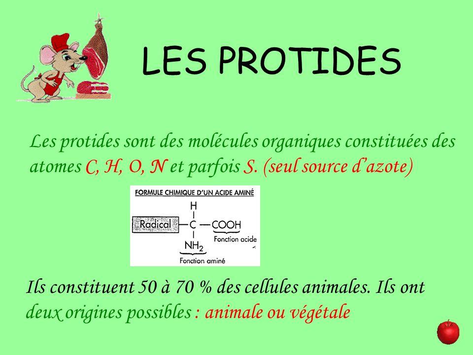 LES PROTIDES Les protides sont des molécules organiques constituées des atomes C, H, O, N et parfois S. (seul source dazote) Ils constituent 50 à 70 %