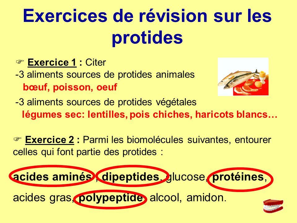 Exercice 1 : Citer -3 aliments sources de protides animales -3 aliments sources de protides végétales Exercices de révision sur les protides Exercice