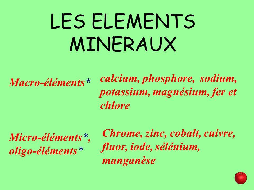 LES ELEMENTS MINERAUX Macro-éléments* Micro-éléments*, oligo-éléments* calcium, phosphore, sodium, potassium, magnésium, fer et chlore Chrome, zinc, c