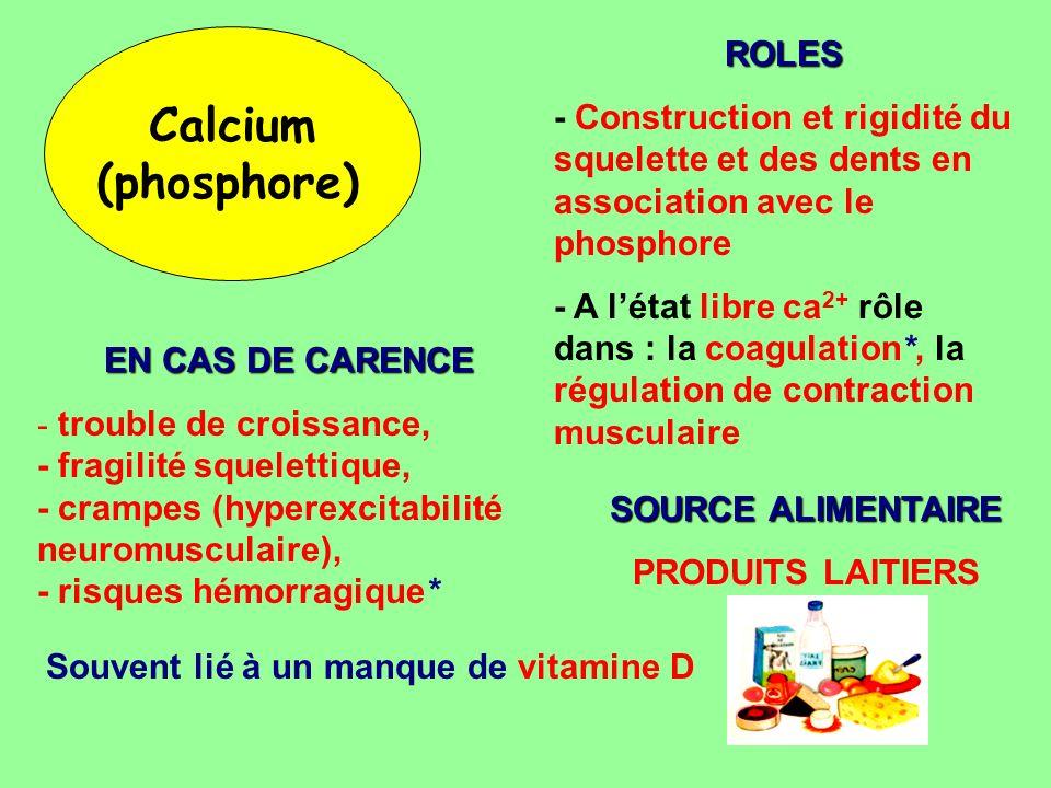Calcium (phosphore) ROLES - Construction et rigidité du squelette et des dents en association avec le phosphore - A létat libre ca 2+ rôle dans : la c