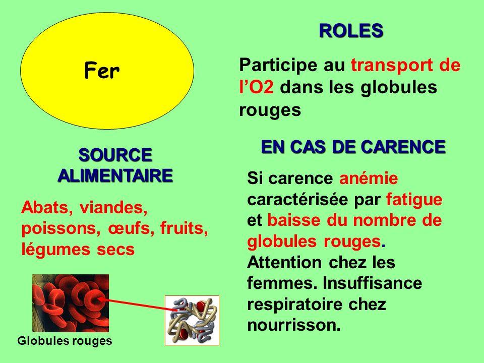 Fer ROLES Participe au transport de lO2 dans les globules rouges SOURCE ALIMENTAIRE Abats, viandes, poissons, œufs, fruits, légumes secs EN CAS DE CAR