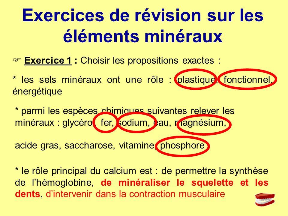 Exercices de révision sur les éléments minéraux Exercice 1 : Choisir les propositions exactes : * les sels minéraux ont une rôle : plastique, fonction